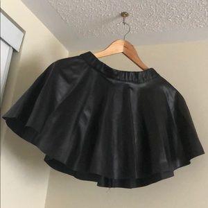 Short Black Faux Leather Skirt